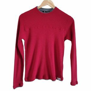 Mecca Waffle Knit Crew Long Sleeve Top Red XL 14
